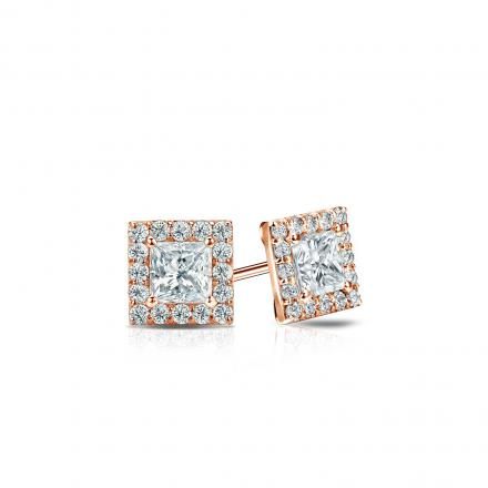 Certified 14k Rose Gold Halo Princess-Cut Diamond Stud Earrings 0.50 ct. tw. (I-J, I1)