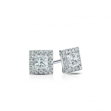 Certified 14k White Gold Halo Princess-Cut Diamond Stud Earrings 0.50 ct. tw. (I-J, I1-I2)