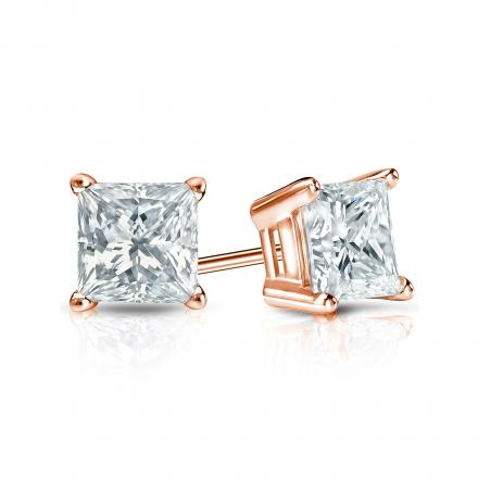 Certified 14k Rose Gold 4 G Basket Princess Cut Diamond Stud Earrings 0 75 Ct