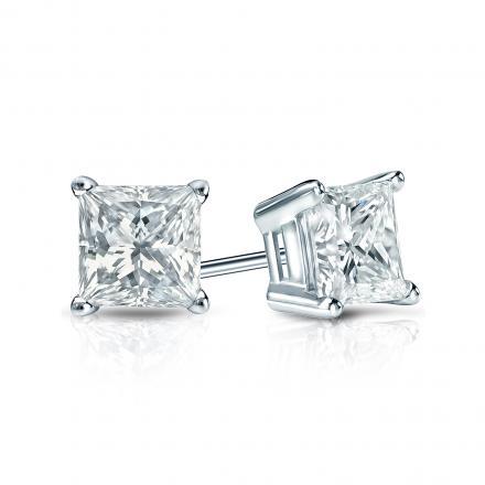 f99766b54 Certified 14k White Gold 4-Prong Basket Princess-Cut Diamond Stud Earrings  0.75 ct. tw. (H-I, SI1-SI2) - DiamondStuds.com