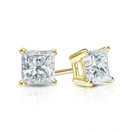 833c7dba6 Certified 18k Yellow Gold 4-Prong Basket Princess-Cut Diamond Stud Earrings  0.75 ct