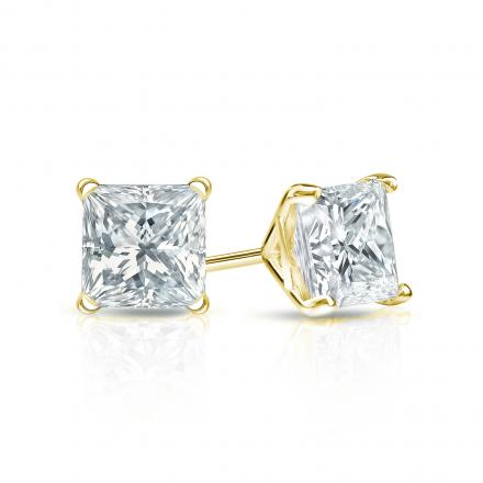 Certified 14k Yellow Gold 4 G Martini Princess Cut Diamond Stud Earrings 0 75 Ct