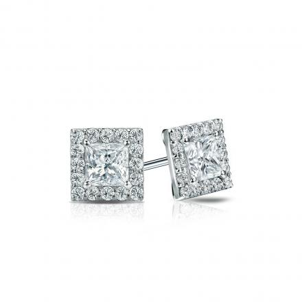 Certified 14k White Gold Halo Princess Cut Diamond Stud Earrings 0 75 Ct Tw