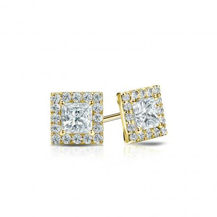 Certified 14k Yellow Gold Halo Princess-Cut Diamond Stud Earrings 0.75 ct. tw. (I-J, I1-I2)