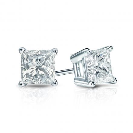 Certified 18k White Gold 4-Prong Basket Princess-Cut Diamond Stud Earrings 1.00 ct. tw. (I-J, I1-I2)