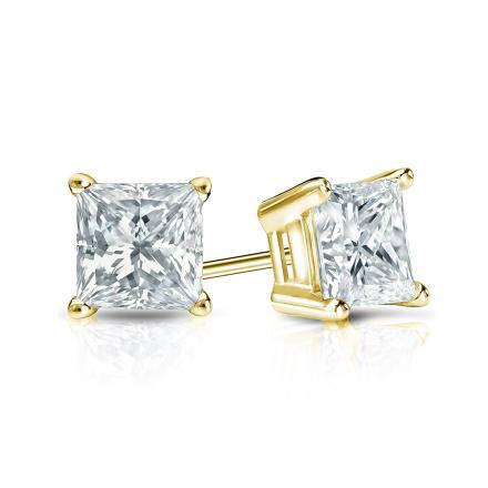 8fc23f571 Certified 14k Yellow Gold 4-Prong Basket Princess-Cut Diamond Stud Earrings  1.00 ct. tw. (G-H, SI1) - DiamondStuds.com