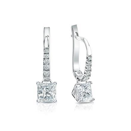 Certified Platinum Dangle Studs 4-Prong Martini Princess-Cut Diamond Earrings 1.00 ct. tw. (H-I, SI1-SI2)