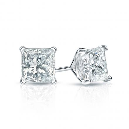 Certified 14k White Gold 4-Prong Martini Princess-Cut Diamond Stud Earrings 1.00 ct. tw. (H-I, SI1-SI2)