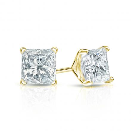 cc4b78e3e Certified 14k Yellow Gold 4-Prong Martini Princess-Cut Diamond Stud  Earrings 1.00 ct