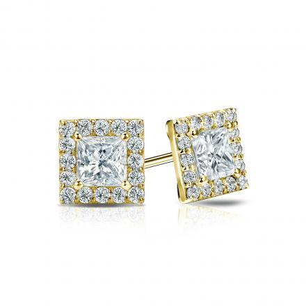 Certified 14k Yellow Gold Halo Princess-Cut Diamond Stud Earrings 1.00 ct. tw. (I-J, I1-I2)