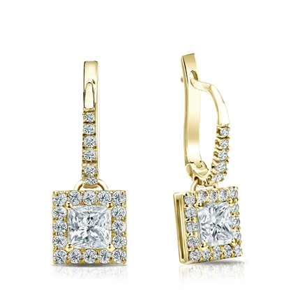 Certified 18k Yellow Gold Dangle Studs Halo Princess-Cut Diamond Earrings 1.00 ct. tw. (H-I, SI1-SI2)