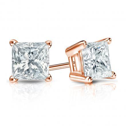 Certified 14k Rose Gold 4-Prong Basket Princess-Cut Diamond Stud Earrings 1.25 ct. tw. (I-J, I1-I2)