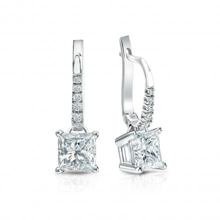 Certified 18k White Gold Dangle Studs 4-Prong Basket Princess-Cut Diamond Earrings 1.50 ct. tw. (I-J, I1-I2)