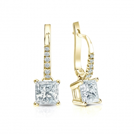 Certified 18k Yellow Gold Dangle Studs 4-Prong Basket Princess-Cut Diamond Earrings 1.50 ct. tw. (I-J, I1-I2)