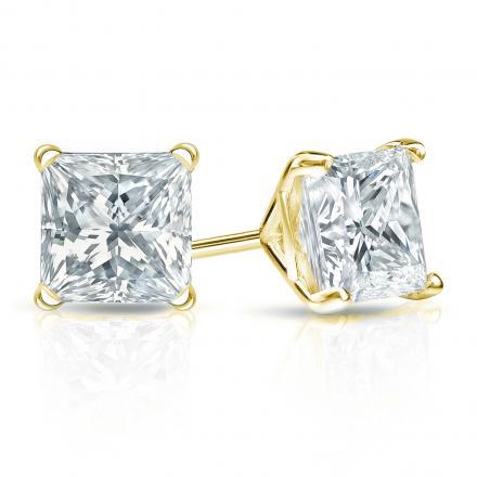 Certified 14k Yellow Gold 4-Prong Martini Princess-Cut Diamond Stud Earrings 1.50 ct. tw. (I-J, I1-I2)