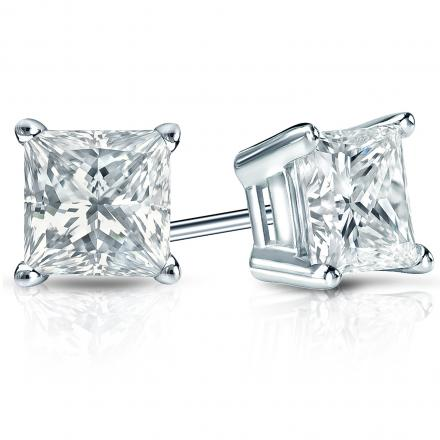 Certified 14k White Gold 4-Prong Basket Princess-Cut Diamond Stud Earrings 2.00 ct. tw. (H-I, I2-I3)
