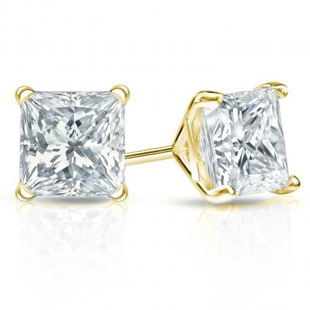 Certified 14k Yellow Gold 4-Prong Martini Princess-Cut Diamond Stud Earrings 2.00 ct. tw. (I-J, I1-I2)