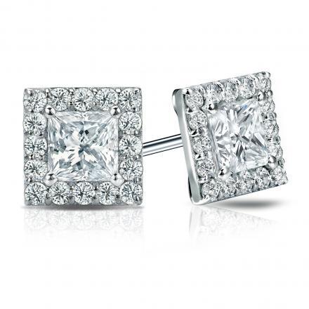 Diamond 3.00 Carat Round Diamond Halo Stud Earrings 18K White Gold