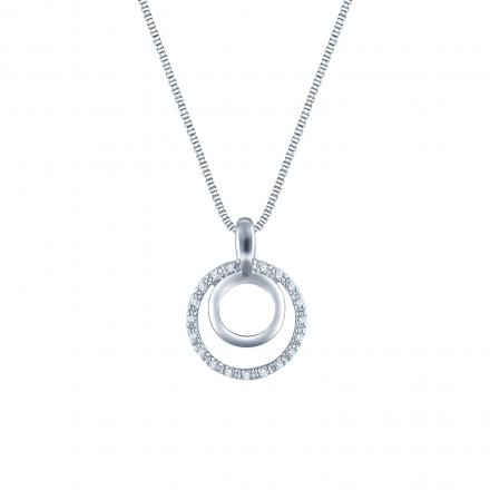 Sterling Silver Double Circle Of Life Penant Neckalce 0.10 ct.tw. (H-I,I1-I2)