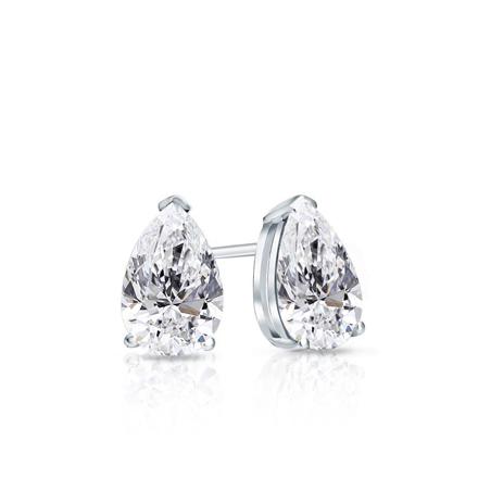 Certified 14k White Gold V End G Pear Shape Diamond Stud Earrings 0 50 Ct