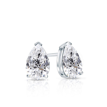 Certified 14k White Gold V End G Pear Shape Diamond Stud Earrings 0 62 Ct