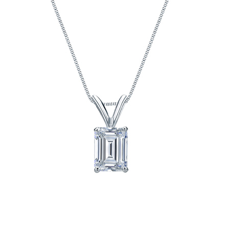 14k white gold 4 prong basket certified emerald cut diamond 14k white gold 4 prong basket certified emerald cut diamond solitaire pendant 075 ct aloadofball Choice Image