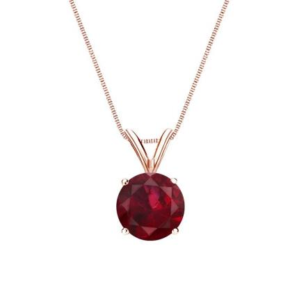 Certified 14k Rose Gold 4-Prong Basket Round Ruby Gemstone Solitaire Pendant 0.33 ct. tw. (Red, AAA)