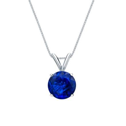Certified 18k White Gold 4-Prong Basket Round Blue Sapphire Gemstone Solitaire Pendant 0.25 ct. tw. (Blue, AAA)