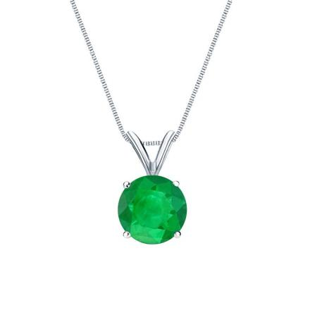 Certified Platinum 4-Prong Basket Round Green Emerald Gemstone Solitaire Pendant 0.25 ct. tw. (Green, AAA)