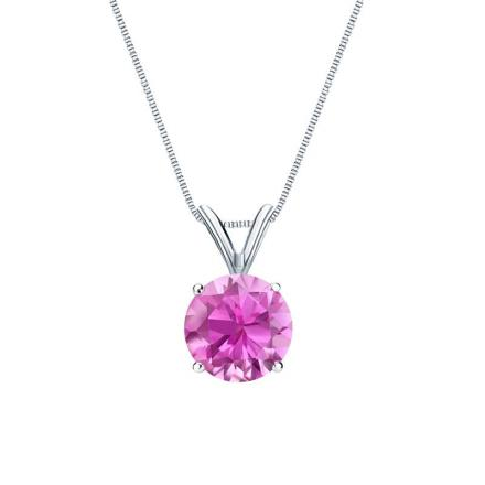 Certified 14k White Gold 4-Prong Basket Round Pink Sapphire Gemstone Solitaire Pendant 0.25 ct. tw. (Pink, AAA)