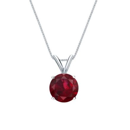 Certified Platinum 4-Prong Basket Round Ruby Gemstone Solitaire Pendant 0.40 ct. tw. (Red, AAA)