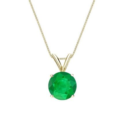 Certified 18k Yellow Gold 4-Prong Basket Round Green Emerald Gemstone Solitaire Pendant 0.25 ct. tw. (Green, AAA)