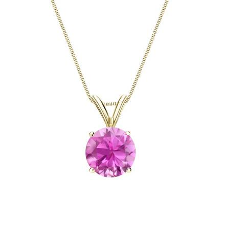 Certified 18k Yellow Gold 4-Prong Basket Round Pink Sapphire Gemstone Solitaire Pendant 0.25 ct. tw. (Pink, AAA)