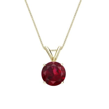 Certified 18k Yellow Gold 4-Prong Basket Round Ruby Gemstone Solitaire Pendant 0.25 ct. tw. (Red, AAA)