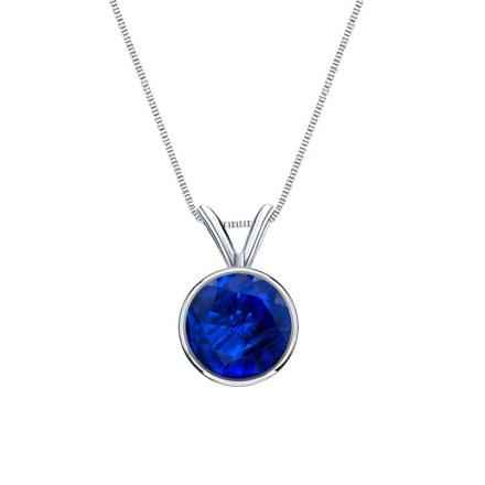 Certified 14k White Gold Bezel Round Blue Sapphire Gemstone Solitaire Pendant 0.62 ct. tw. (Blue, AAA)