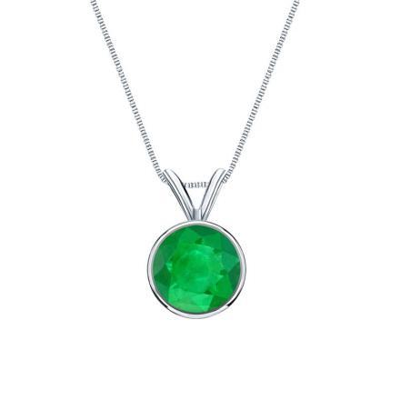 b1c0d8c39 Certified Platinum Bezel Round Green Emerald Gemstone Solitaire Pendant  0.62 ct. tw. (Green, AAA) - DiamondStuds.com