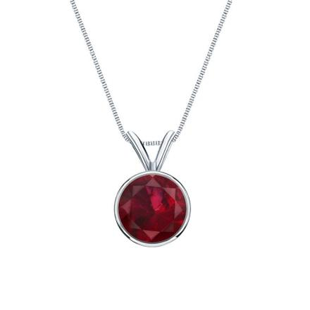 Certified Platinum Bezel Round Ruby Gemstone Solitaire Pendant 0.25 ct. tw. (Red, AAA)