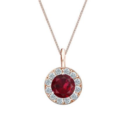 Certified 14k Rose Gold Halo Round Ruby Gemstone Pendant 0.75 ct. tw. (AAA)