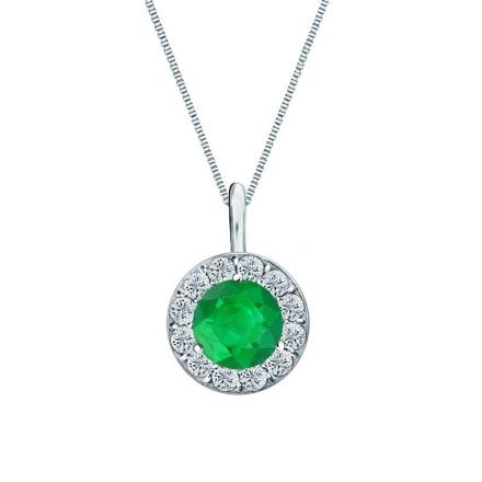 Certified Platinum Halo Round Green Emerald Gemstone Pendant 0.50 ct. tw. (AAA)