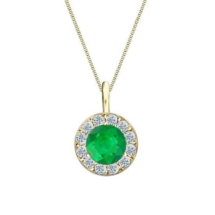 Certified 14k Yellow Gold Halo Round Green Emerald Gemstone Pendant 1.00 ct. tw. (AAA)