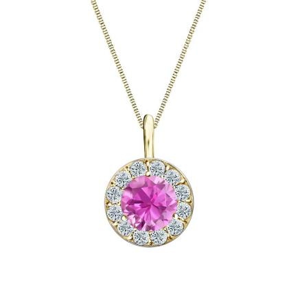 Certified 14k Yellow Gold Halo Round Pink Sapphire Gemstone Pendant 0.50 ct. tw. (AAA)