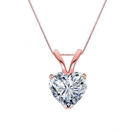Certified 14k Rose Gold Heart Shape Diamond Solitaire Pendant 0.50 ct. tw. (H-I, SI1-SI2)