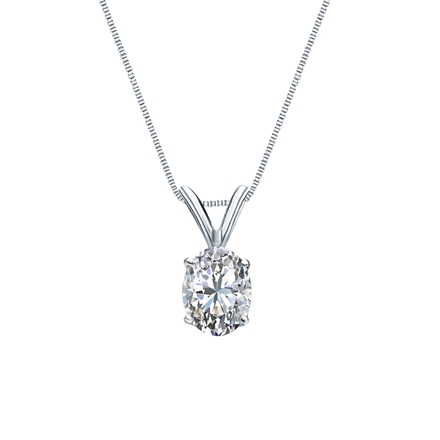 14k White Gold 4-Prong Basket Certified Oval-Cut Diamond Solitaire Pendant 0.50 ct. tw. (I-J, I1)