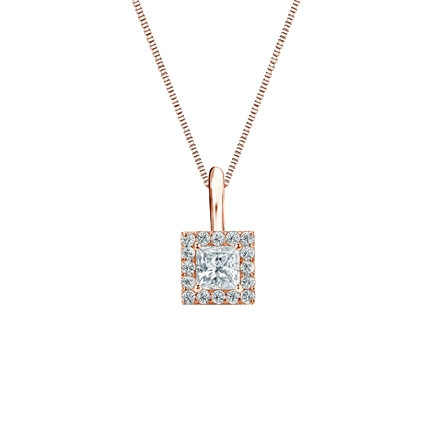14k Rose Gold Certified Princess-Cut Diamond Halo Pendant 0.25 ct. tw. (I-J, I1-I2)