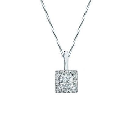 14k White Gold Certified Princess-Cut Diamond Halo Pendant 0.25 ct. tw. (I-J, I1-I2)
