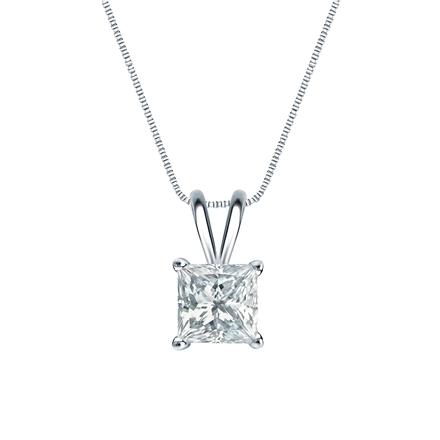 14k White Gold 4-Prong Basket Certified Princess-Cut Diamond Solitaire Pendant 1.00 ct. tw. (H-I, I2-I3)