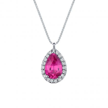 Certified 14k White Gold Pear Shape Pink Sapphire Halo Pendant 1.50 ct. tw. (Pink, AAA)