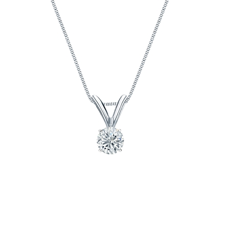 14k White Gold 4-Prong Basket Certified Round-Cut Diamond Solitaire Pendant 0.17 ct. tw. (I-J, I1-I2)