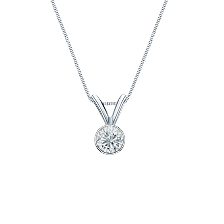 14k White Gold Bezel Certified Round-Cut Diamond Solitaire Pendant 0.17 ct. tw. (J-K, I2)