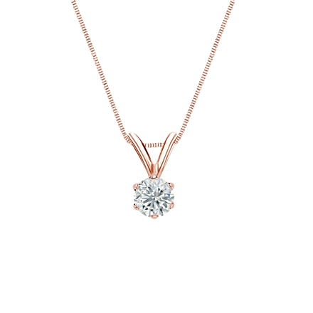 14k Rose Gold 6-Prong Basket Certified Round-Cut Diamond Solitaire Pendant 0.20 ct. tw. (I-J, I1-I2)